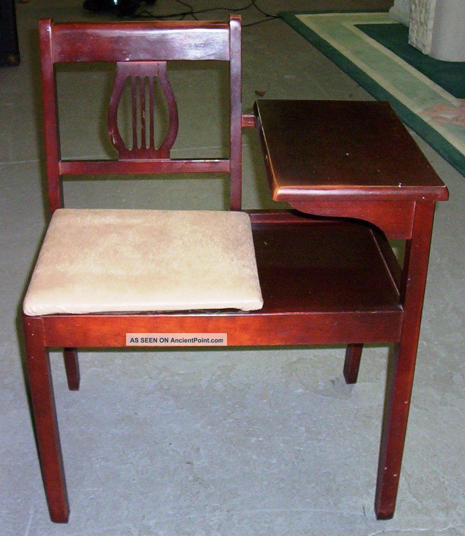 Vintage Gossip Bench: Telephone Table: Cherry Finish:unknown Exact Year Post-1950 photo