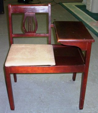 Vintage Gossip Bench: Telephone Table: Cherry Finish:unknown Exact Year photo