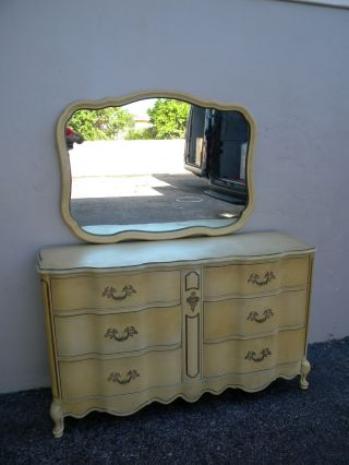 French Painted Double Serpentine Dresser With Mirror By Bassett 2491 photo