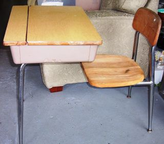 Vintage Heywood Wakefield Wood & Metal School Desk photo