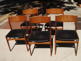 Beauitful Mid - Century Modern Wood & Leather Chairs,  Set Of 5 photo