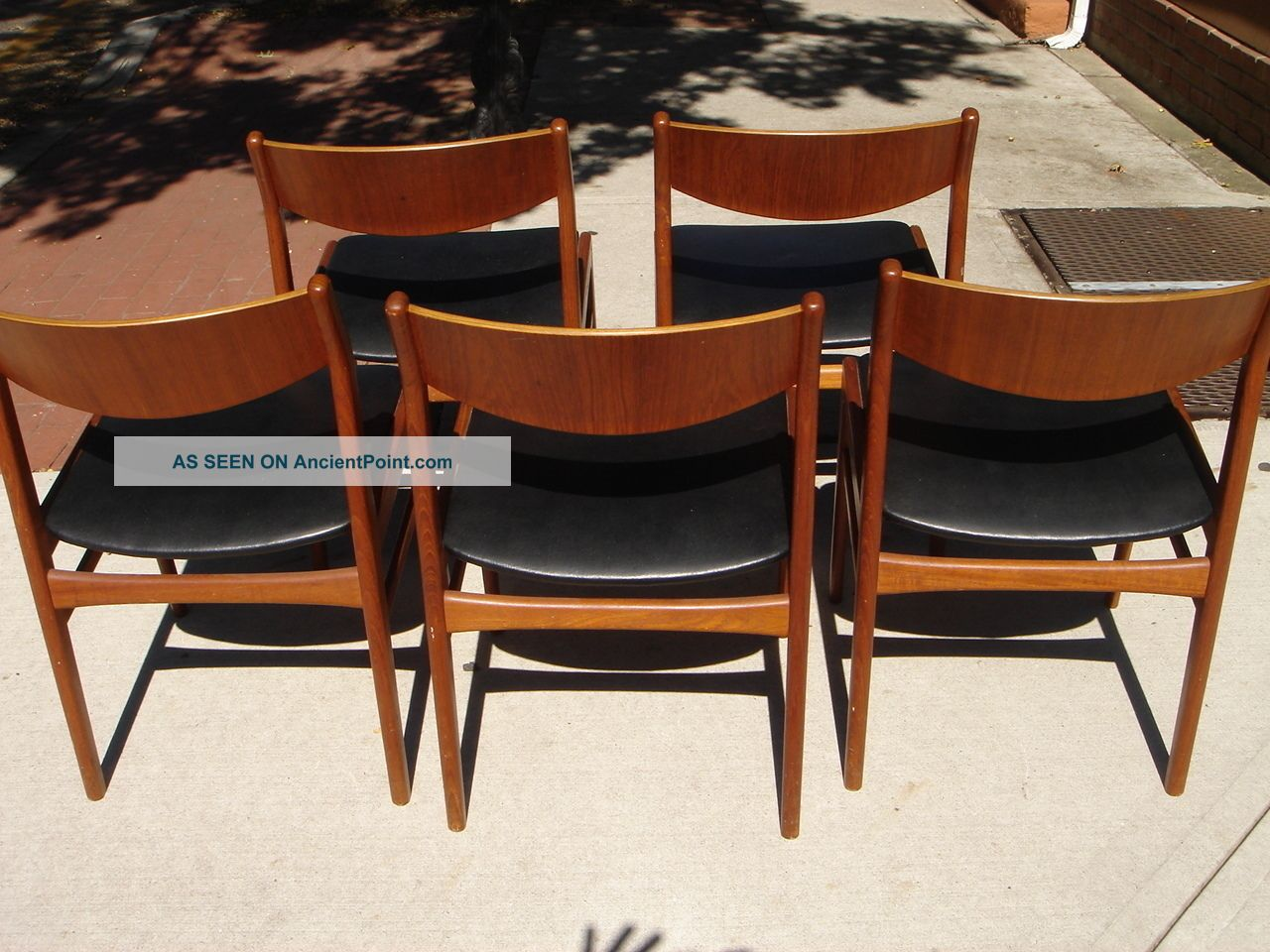 Beauitful mid century modern wood amp leather chairs set of 5 post