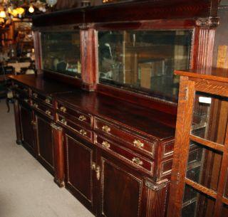 1890 ' S Oak Back Bar Buffet Dual Beveled Glass Mirrors photo