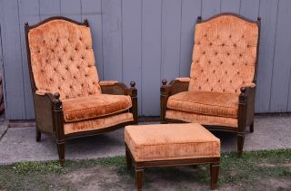 Mid - Century Modern Orange Cane Armed Chairs With Ottoman Vintage Eames Furniture photo