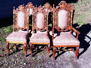 Victorian Set Of 6 Carved Oak Diningroom Chairs photo