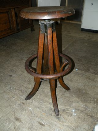Antique Oak Rr Station Or Coal Miners Swivel Stool Chair photo