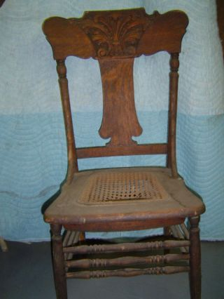 3 Matching Oak Pressed Back Chairs - Early 1900 ' S photo