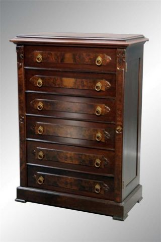15775 Antique Victorian Six - Drawer Lock - Side Butler ' S Chest With Key photo