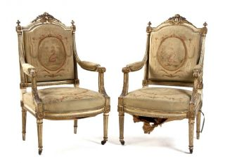 Pair Of Antique 19th C Louis Xvi Parcel Gilt Chairs Fauteuils Aubusson Tapestry photo