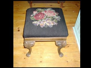Antique Mahogany Victorian Needlepoint Stool Queen Anne Carved Legs photo