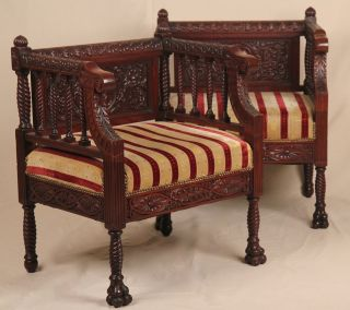 Fine Pair Of Rococo Revival Victorian Solid Mahogany Carved Antique Arm Chairs photo