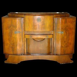 Antique Art Deco Bar Wine Liquor Cabinet Buffet Drop Front Stonehill Furniture photo
