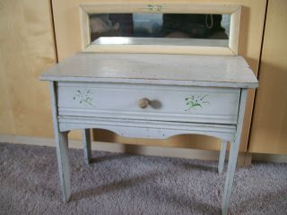 Antique Dolls Dresser Bureau Desk Vanity With Drawer photo