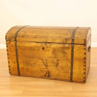 Circa 17 - 1800 ' S Antique Wood Storage Trunk photo