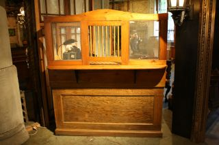 Antique Wooden Teller / Ticket Window Standing Desk.  6674 photo