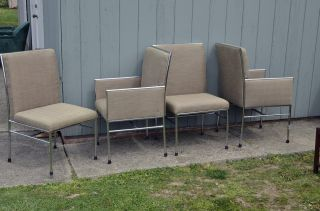 Mid Century Modern Milo Baughman Style Chrome Dining Chairs Vintage Design Eames photo