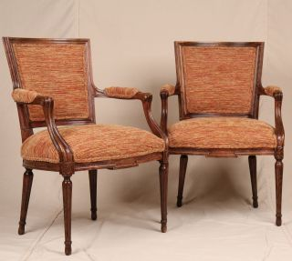 Pair Of French Louis Xvi Antique Style Upholstered Carved Fauteuil Arm Chairs photo