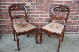 Pair Of Antique Victorian Balloon Rose Back Carved Chairs Needlepoint photo