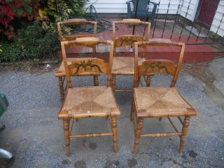 Hitchcock Set Of 4 Maple Stenciled Rush Seat Dining Chairs photo
