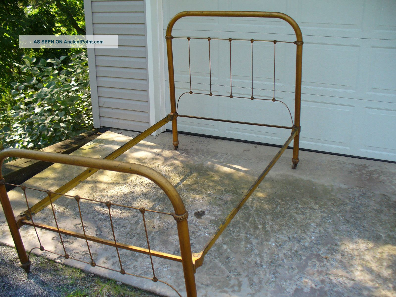 Old Cast And Wrought Iron Tube Bed