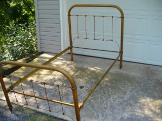 Old Cast And Wrought Iron Tube Bed photo