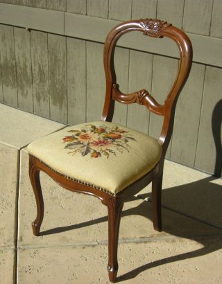 Vintage French Provincial Chair Needlepoint Solid Wood French Country photo