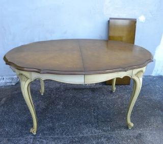 French Painted Cherry Dining Table With 1 Leaf 1811 photo