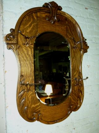 Antique Oak Frame Beveled Hall Mirror W/ Hooks Dated 1908 Refinished Ornate photo