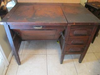 Antique Type Writer Desk Vintage Piece Dark Wood Very Unique Must See photo