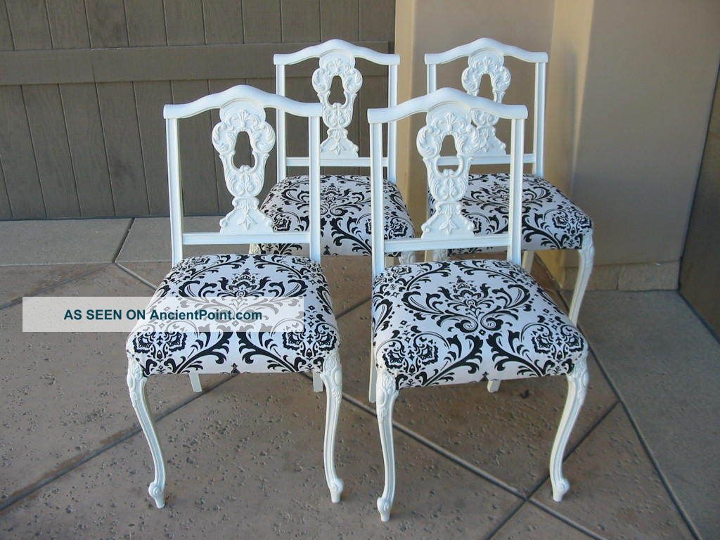 Set Of Four Vintage French Provincial Black And White Damask Dining Room Chairs