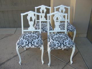 Set Of Four Vintage French Provincial Black And White Damask Dining Room Chairs photo