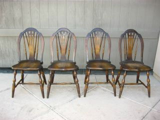 Set Of Four Solid Wood Antique Chairs By Phoenix Chair Co. photo