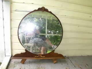 Wood Circular Shaped Bureau Mirror Heavy (c1) photo