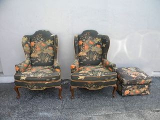 Pair Of Side By Side Queen Anne Wing Chairs And Ottoman By Heritage 2482 photo