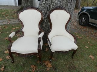 Pair Of Victorian Parlour Chairs W/carved Detail