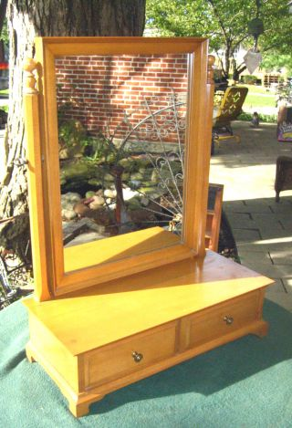 Vintage Hand Crafted Maple Shaving Dresser Vanity Mirror W/ Dovetailed Drawers photo