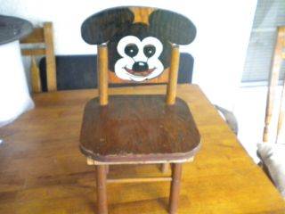 Antique Mickey Mouse Wooden Childs Chair Hand Painted photo