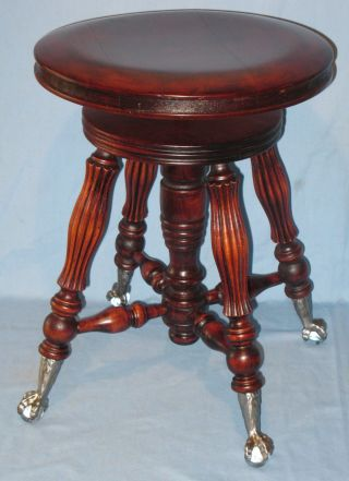 Antique Swivel Piano Organ Stool Lyon & Healy Chicago Mahogany Finish Ca1890s photo