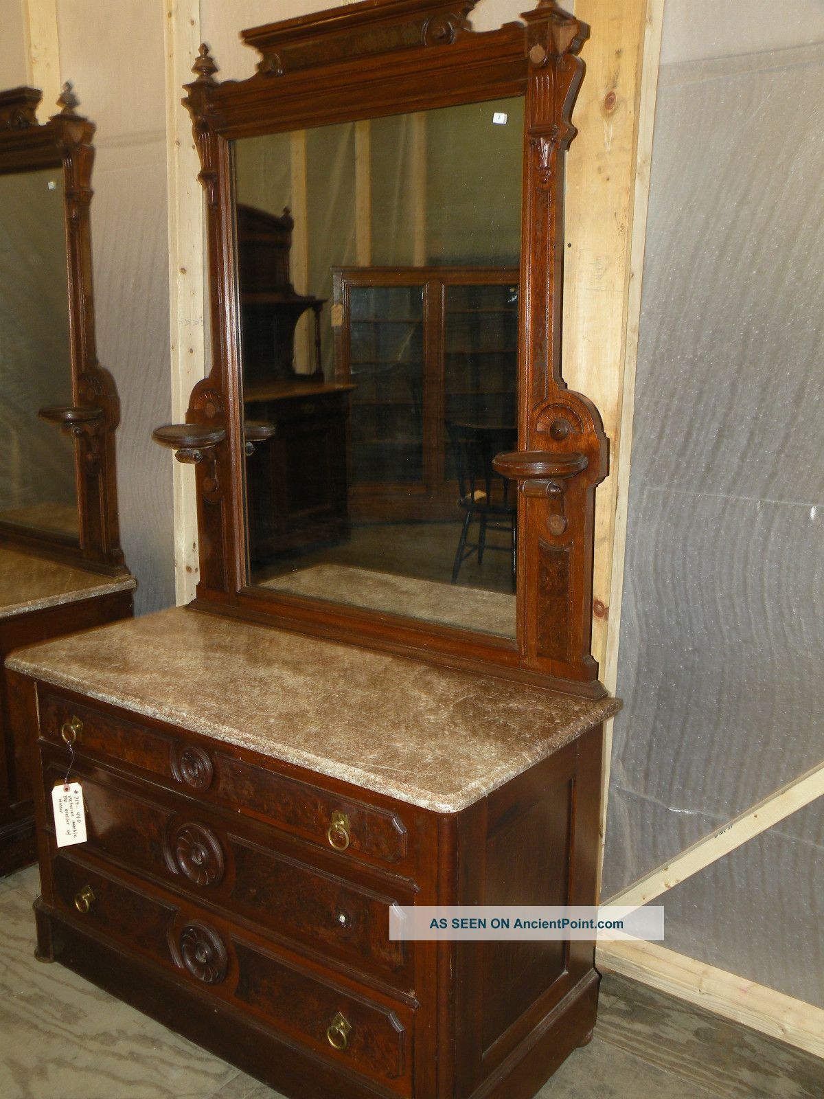 Pair Of Marble Top Victorian Antique