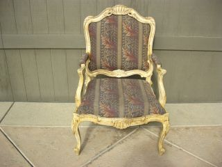 Vintage French Provincial Style Arm Chair Country Cottage Chic Shabby Distressed photo