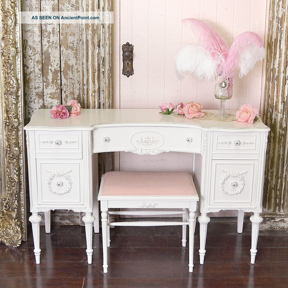 Shabby Cottage Chic White Vintage Style Vanity Desk 5 Drawer White Rose Wow 1900-1950 photo