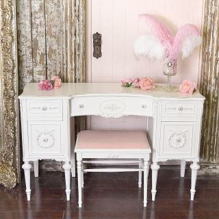 Shabby Cottage Chic White Vintage Style Vanity Desk 5 Drawer White Rose Wow photo
