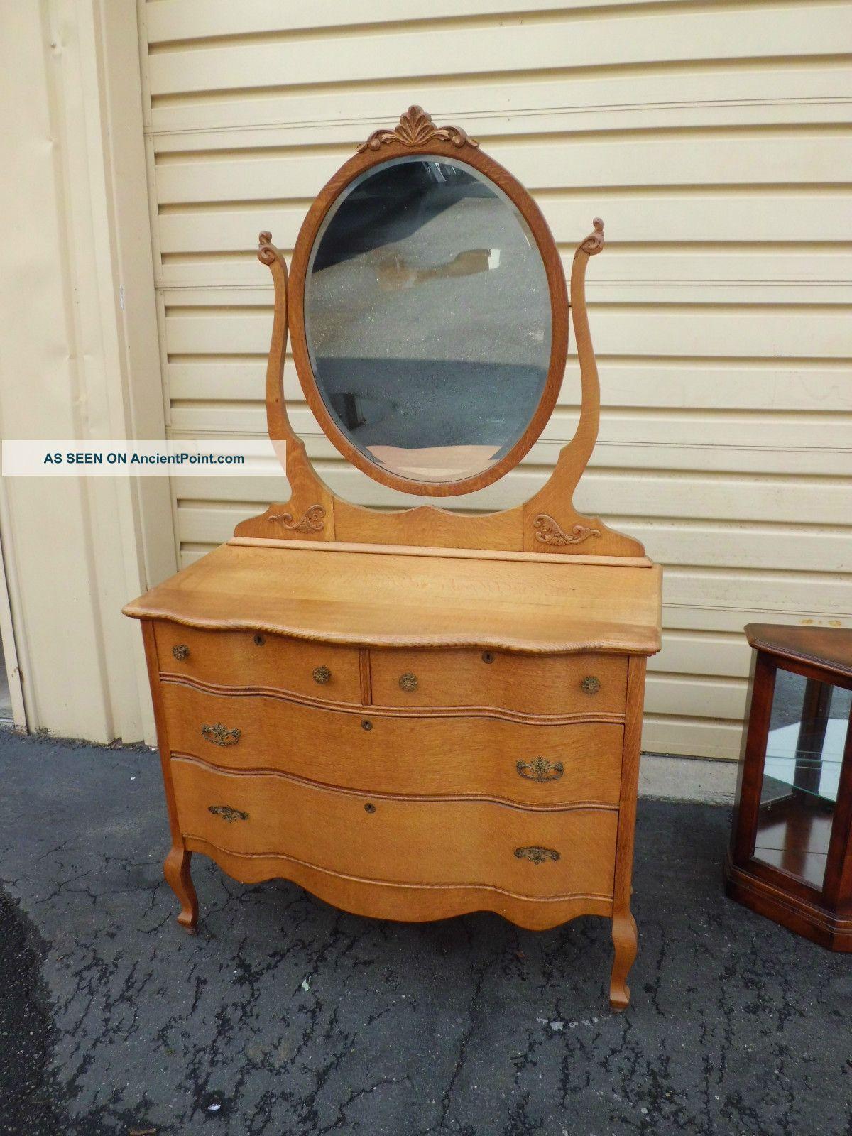 50442 Antique Victorian Oak Dresser Chest With Beveled Mirror