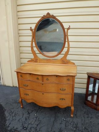 50442 Antique Victorian Oak Dresser Chest With Beveled Mirror photo