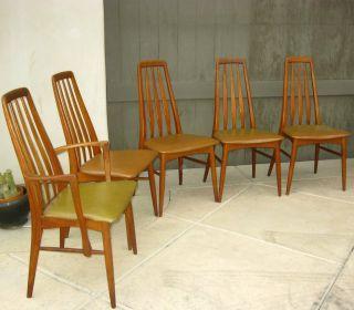 Set Of 5 Vintage Teak Danish Dining Room Chairs By Koefoeds Hornslet,  Denmark photo