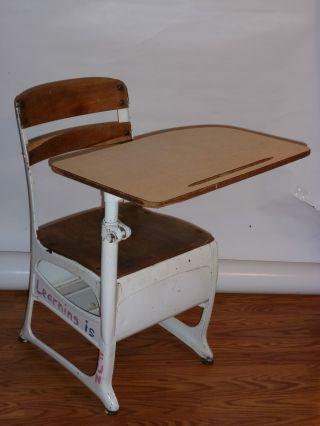 Vintage Child ' S School Desk Metal Base Wood Seat & Top photo