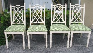 4 Vintage Chairs Faux Bamboo Hollywood Regency Faux Chinese Chippendale Style photo