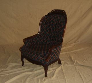 Designer Occasional Chair Regency Vintage Carved Wood Upholstery photo
