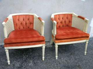 Pair Of Mid Century Barrel Shape Caned Side By Side Chairs By Lewittes 1646 photo