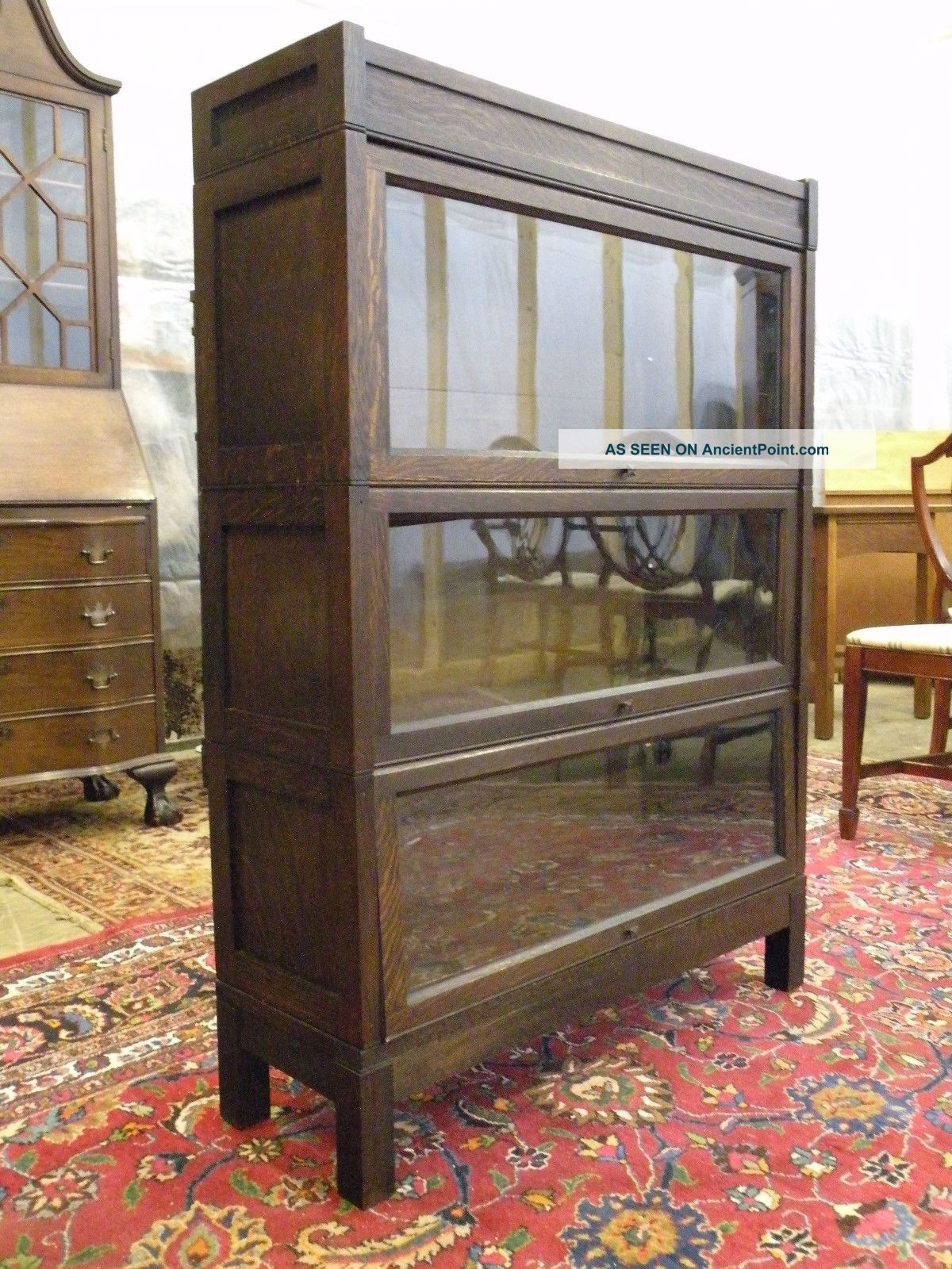 Antique Lundstrom Lawyers Stacking Mission Oak Bookcase Cabinet